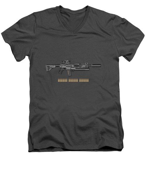 Colt  M 4 A 1  S O P M O D Carbine With 5.56 N A T O Rounds On Red Velvet  Men's V-Neck T-Shirt by Serge Averbukh
