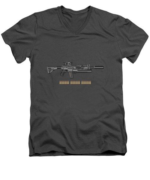 Colt  M 4 A 1  S O P M O D Carbine With 5.56 N A T O Rounds On Red Velvet  Men's V-Neck T-Shirt