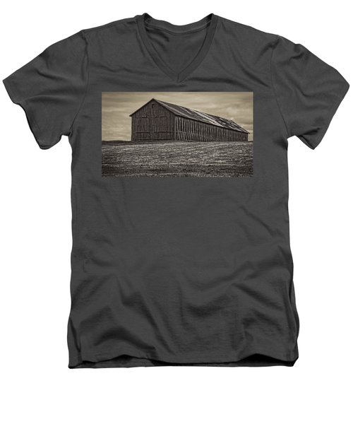 Connecticut Tobacco Barn Men's V-Neck T-Shirt by Phil Cardamone