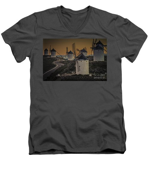 Men's V-Neck T-Shirt featuring the photograph Consuegra Windmills 2 by Heiko Koehrer-Wagner