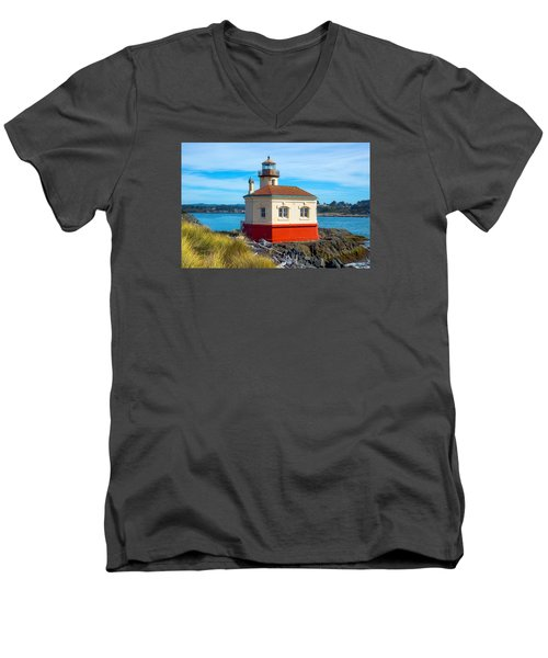 Men's V-Neck T-Shirt featuring the tapestry - textile Coquille Lighthouse by Dennis Bucklin