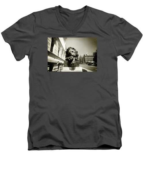 Men's V-Neck T-Shirt featuring the photograph Corcoran Lion by Victoria Lakes