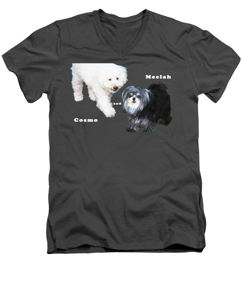 Cosmo And Meelah 1 Men's V-Neck T-Shirt by Terry Wallace