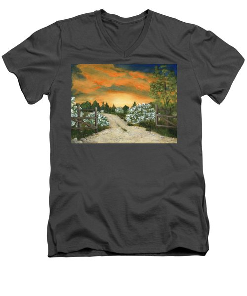 Men's V-Neck T-Shirt featuring the painting Country Road by Anastasiya Malakhova
