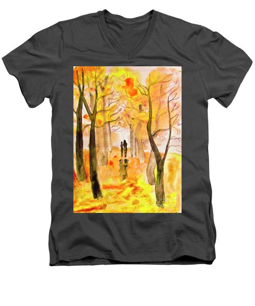 Couple On Autumn Alley, Painting Men's V-Neck T-Shirt