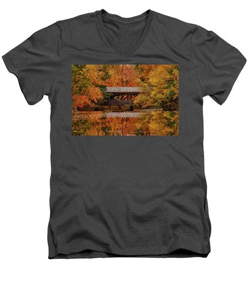 Covered Bridge At Sturbridge Village Men's V-Neck T-Shirt
