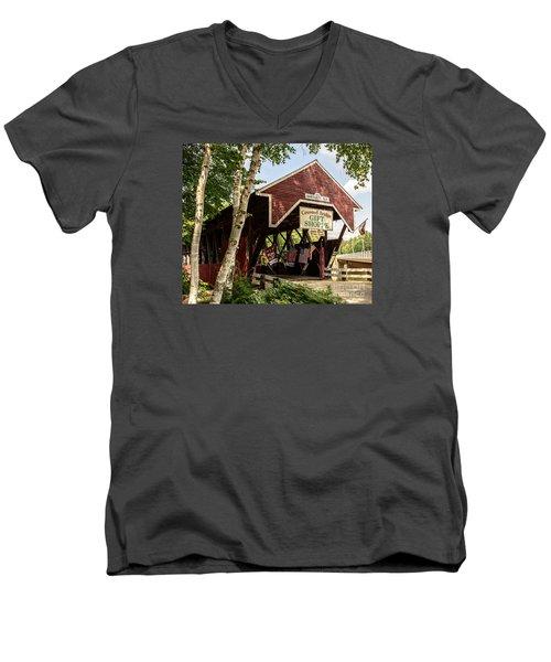 Covered Bridge Gift Shoppe Men's V-Neck T-Shirt by Sherman Perry