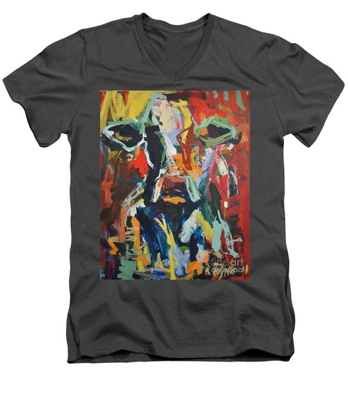 Cow Painting Men's V-Neck T-Shirt