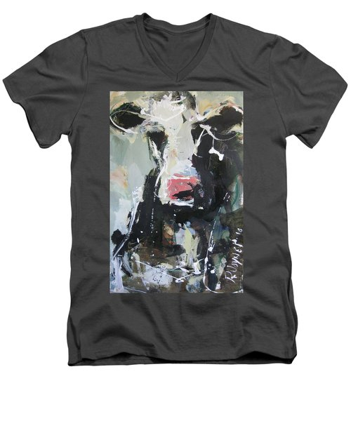Men's V-Neck T-Shirt featuring the painting Cow Portrait by Robert Joyner