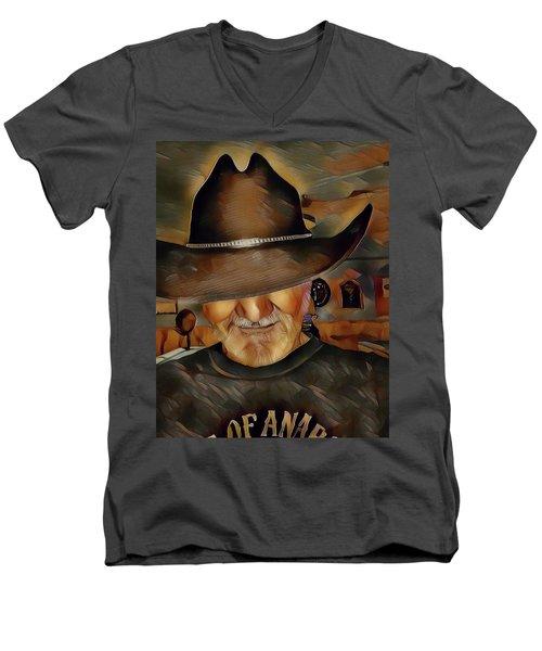 Men's V-Neck T-Shirt featuring the digital art Cowboy by Robert Smith