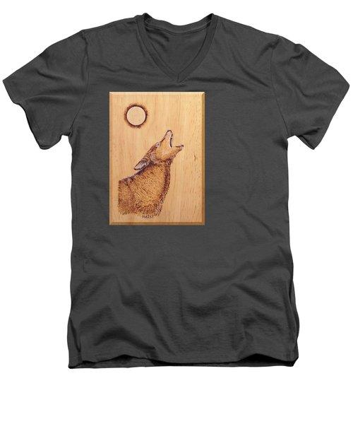 Coyote Men's V-Neck T-Shirt by Ron Haist