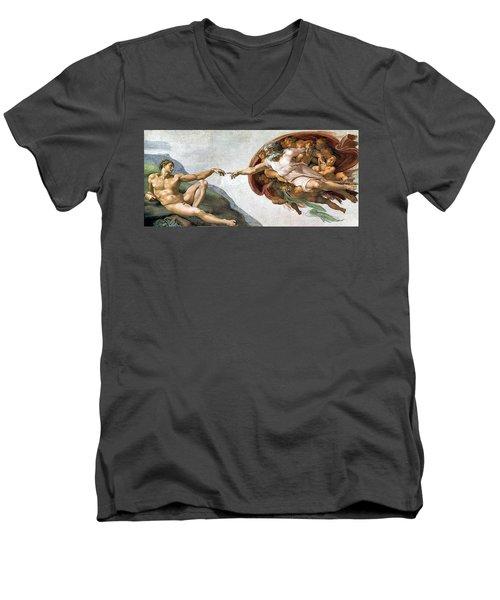 Creation Of Adam Men's V-Neck T-Shirt