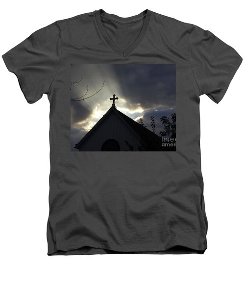 Men's V-Neck T-Shirt featuring the painting Cross In Sun Rays by Debra Crank