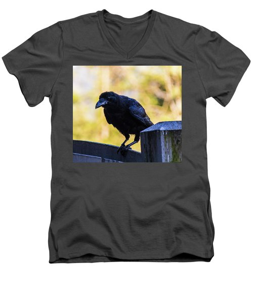 Men's V-Neck T-Shirt featuring the photograph Crow Perched by Jonny D