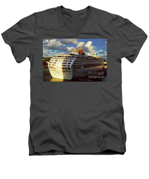 Men's V-Neck T-Shirt featuring the photograph Cruise Ship In Port by Gary Wonning
