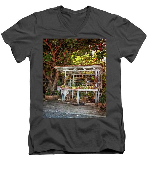 Men's V-Neck T-Shirt featuring the photograph Cuban Fruit Stand by Joan Carroll