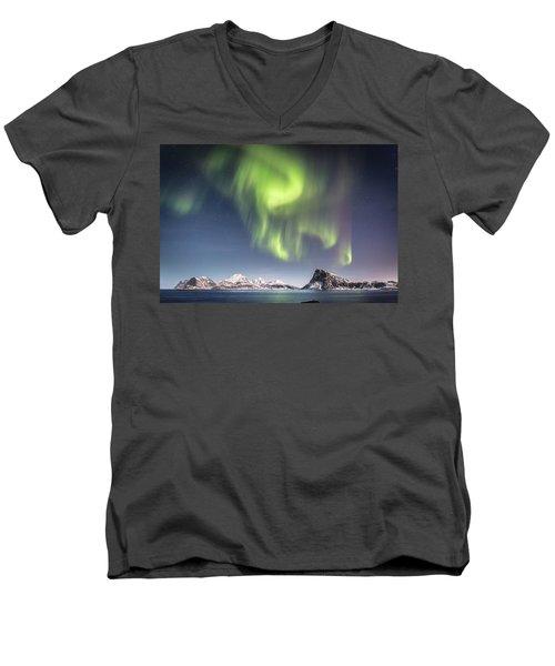 Curtains Of Light Men's V-Neck T-Shirt by Alex Conu