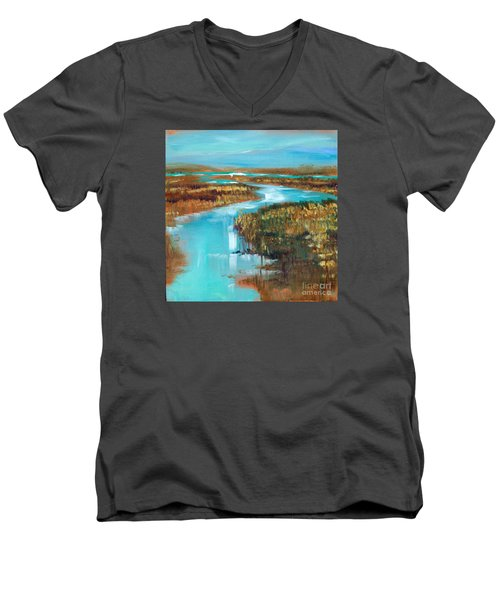 Curve In The Waterway Men's V-Neck T-Shirt by Linda Olsen