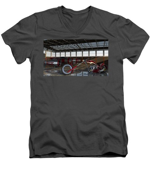 Men's V-Neck T-Shirt featuring the photograph Custom Chopper  by Louis Ferreira