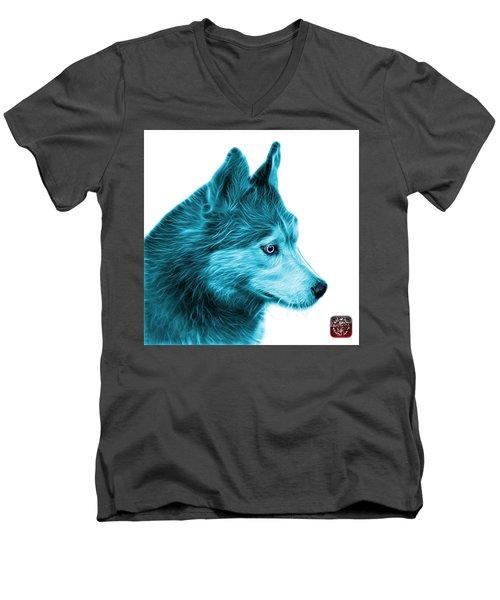 Cyan Siberian Husky Art - 6048 - Wb Men's V-Neck T-Shirt