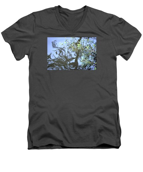 Men's V-Neck T-Shirt featuring the photograph Dancing Leaves by Linda Geiger