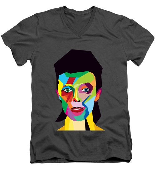 David Bowie Men's V-Neck T-Shirt by Mark Ashkenazi