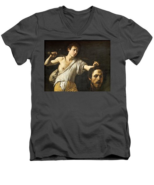David With The Head Of Goliath Men's V-Neck T-Shirt