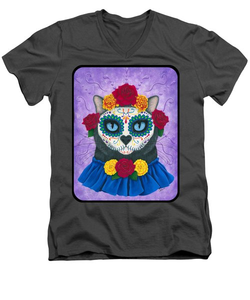 Men's V-Neck T-Shirt featuring the painting Day Of The Dead Cat Gal - Sugar Skull Cat by Carrie Hawks