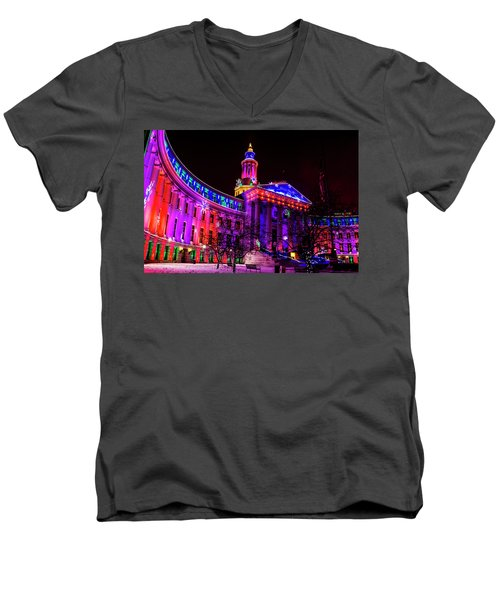 Denver City And County Building Holiday Lights Men's V-Neck T-Shirt