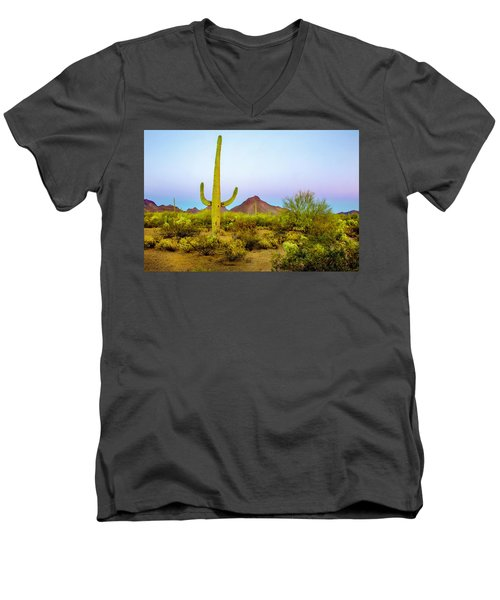 Men's V-Neck T-Shirt featuring the photograph Desert Beauty by Barbara Manis