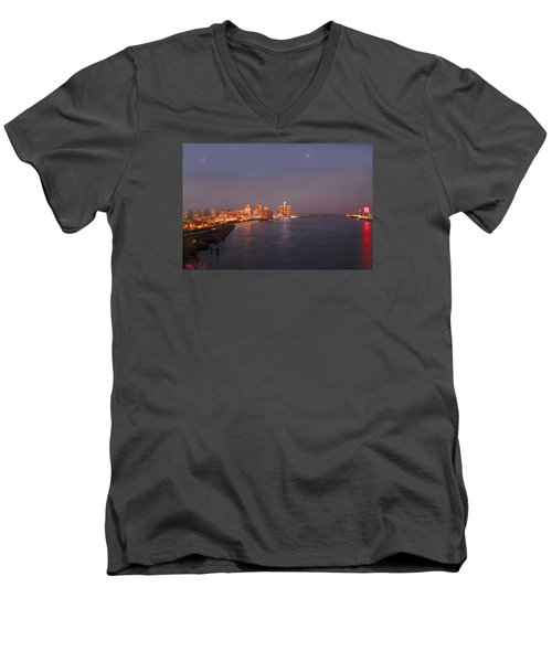 Men's V-Neck T-Shirt featuring the photograph Detroit Skyline At Night by Michael Rucker