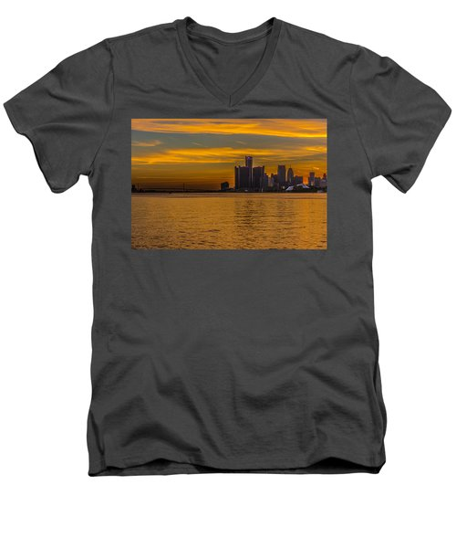 Detroit Sunset Men's V-Neck T-Shirt