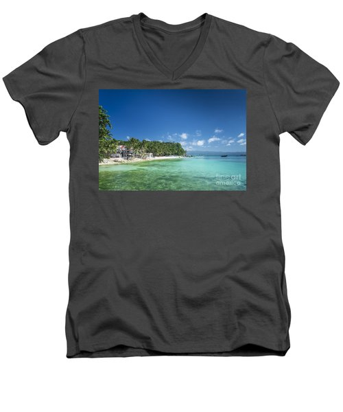 Diniwid Beach In Tropical Paradise Boracay Philippines Men's V-Neck T-Shirt
