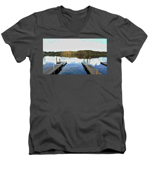 Dock Of The Bay Men's V-Neck T-Shirt by Michael Albright