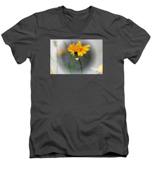 Double Yellow Men's V-Neck T-Shirt by Yumi Johnson