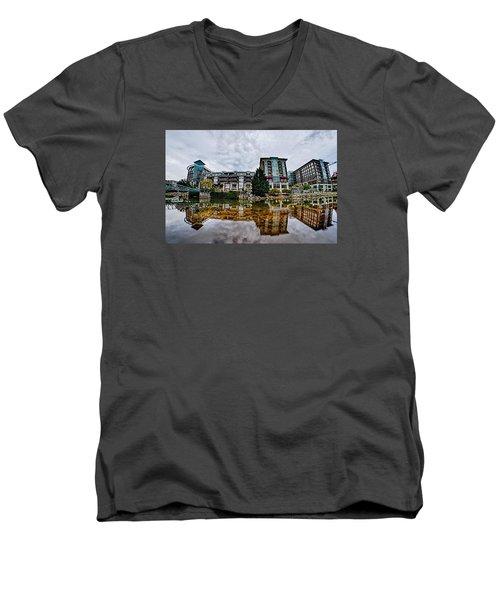 Downtown Of Greenville South Carolina Around Falls Park Men's V-Neck T-Shirt by Alex Grichenko