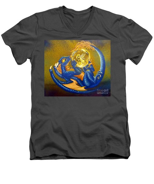 Dragon And Captured Fairy Men's V-Neck T-Shirt