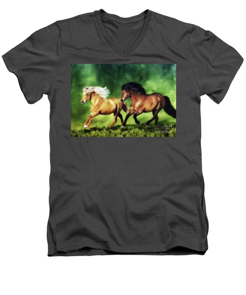 Men's V-Neck T-Shirt featuring the painting Dream Team by Shari Nees