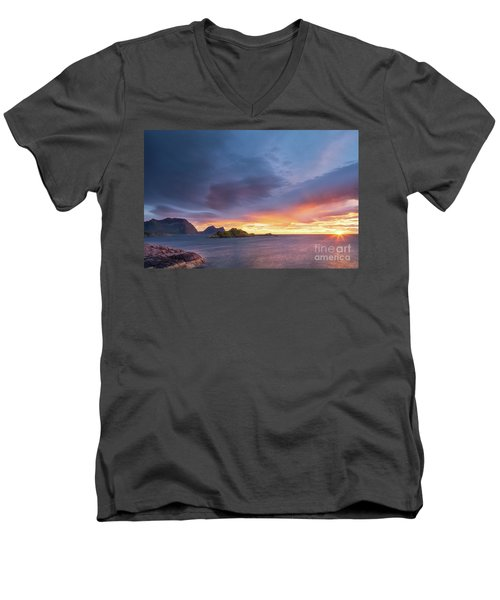 Men's V-Neck T-Shirt featuring the photograph Dreamy Sunset by Maciej Markiewicz