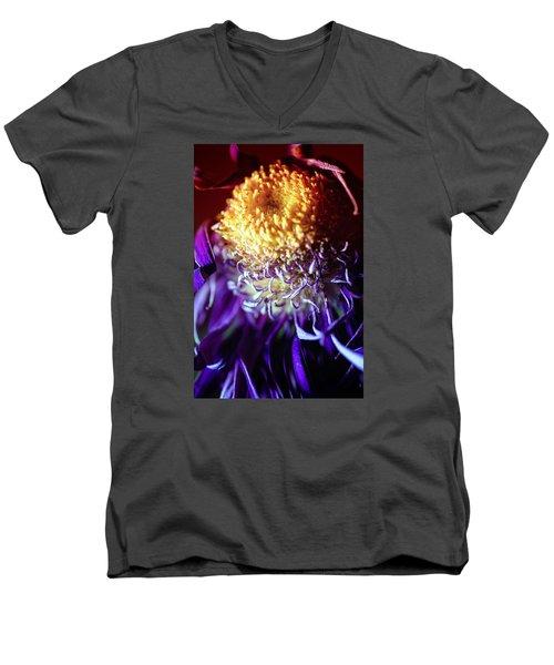 Dying Purple Chrysanthemum Flower Background Men's V-Neck T-Shirt