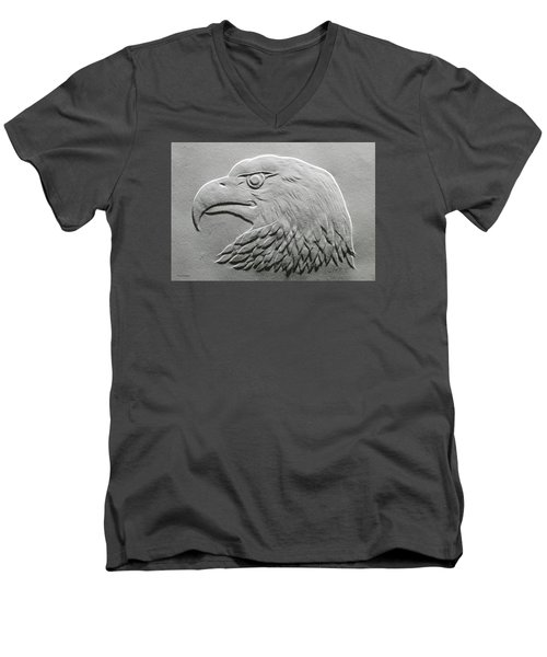 Eagle Head Relief Drawing Men's V-Neck T-Shirt by Suhas Tavkar