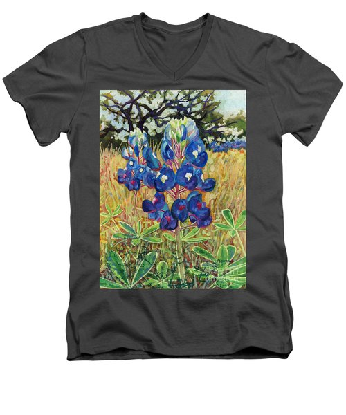 Men's V-Neck T-Shirt featuring the painting Early Bloomers by Hailey E Herrera