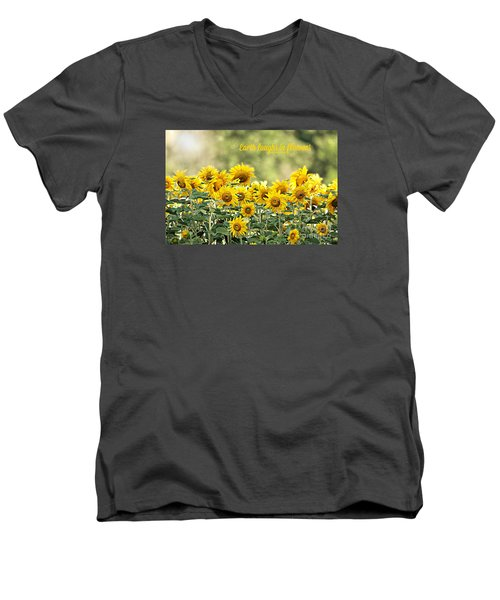 Men's V-Neck T-Shirt featuring the photograph Earth Laughs In Flowers by Lila Fisher-Wenzel