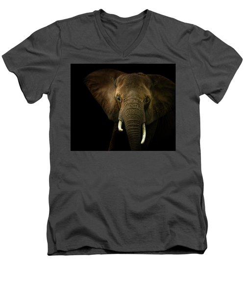 Elephant Against Black Background Men's V-Neck T-Shirt by James Larkin