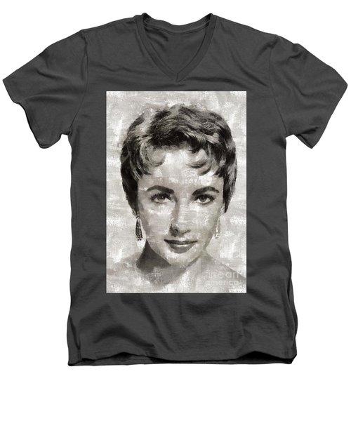 Elizabeth Taylor, Vintage Hollywood Legend Men's V-Neck T-Shirt by Mary Bassett