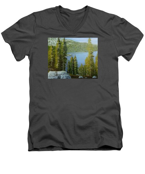 Emerald Bay - Lake Tahoe Men's V-Neck T-Shirt by Mike Caitham
