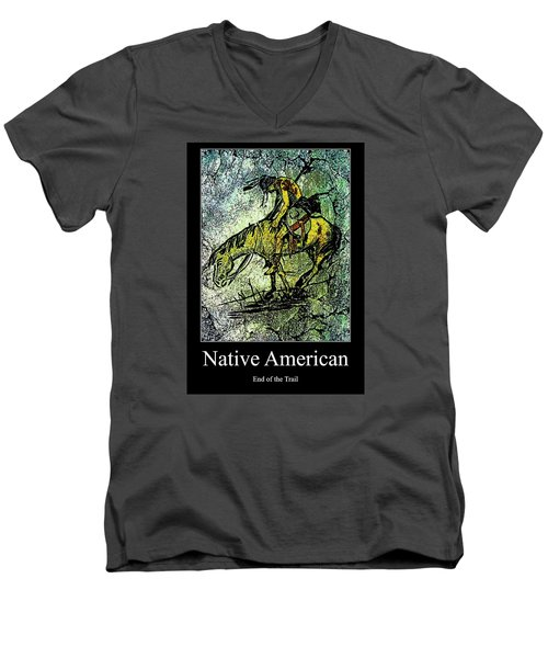 Men's V-Neck T-Shirt featuring the digital art End Of The Trail 1 by Ayasha Loya