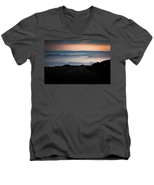 Men's V-Neck T-Shirt featuring the photograph Etna Road by Bruno Spagnolo