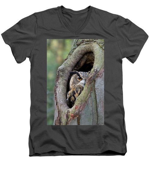Eurasian Eagle-owl Bubo Bubo Looking Men's V-Neck T-Shirt