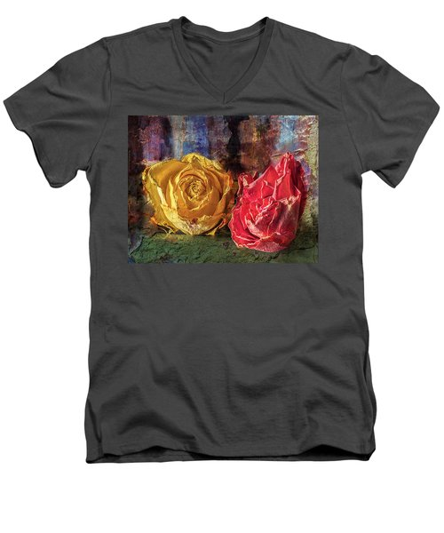 Men's V-Neck T-Shirt featuring the photograph Faded Flowers by Vladimir Kholostykh